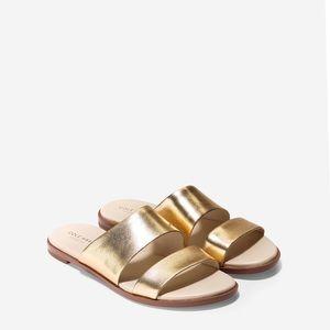 Cole Haan Anica Leather Slide Sandal Metallic Gold